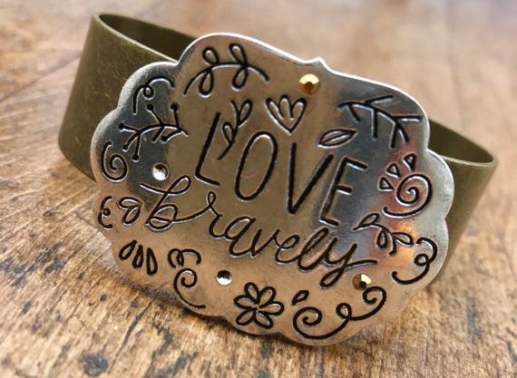 Love Bravely, Silver and Bronze Cuff