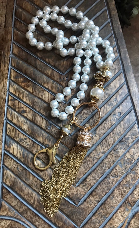 Long Pearl, Gold Tassel Lanyard and Badge Holder