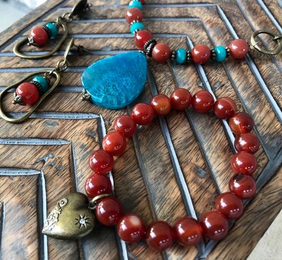 Smokey Orange & Cloudy Turquoise Bead and Bronze Jewelry Set