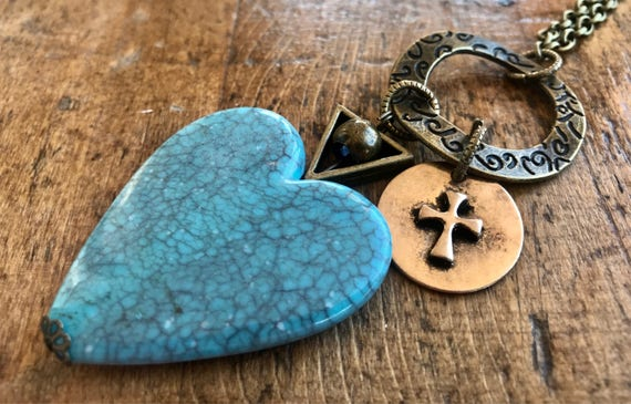 Large Blue Heart, Cross, Hope, Long Bronze Necklace