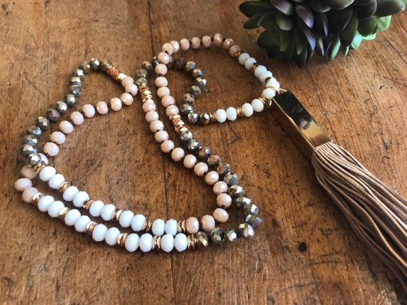 Long Pink, Gray, Gold and White Beaded Necklace with Long Leather Tassel