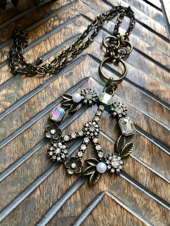 Bronze and Crystal ornate Peace Sign Necklace