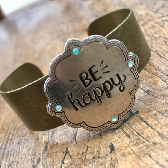 Be Happy, silver and bronze, motivational cuff