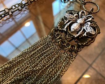 Bronze and Silver, Long Necklace, Bronze Link Chain Tassel, SilverBee, Fashion Necklace