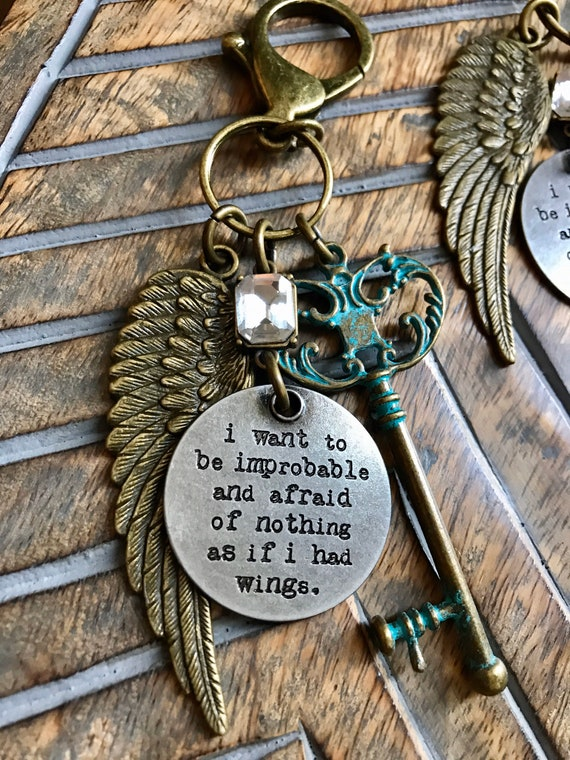Large Turquoise Key, Steampunk Bronze Wing, Motivational Keychain