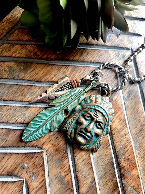 Mixed Metals, Western, Indian, Feather, Arrow, Silver Choker Necklace