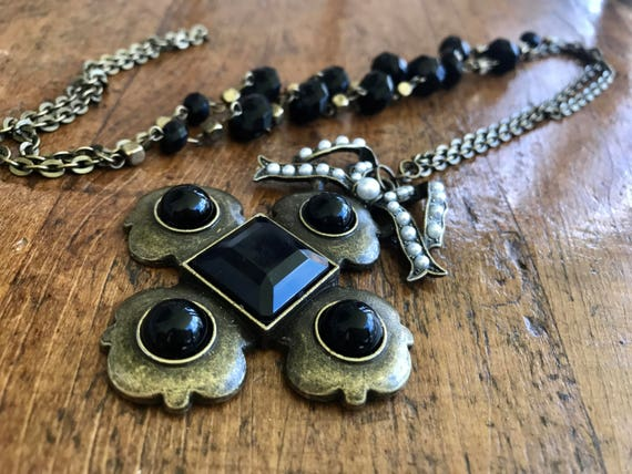 Long Bronze and Black Bead Chain withBronze, Black, Ornate Cross