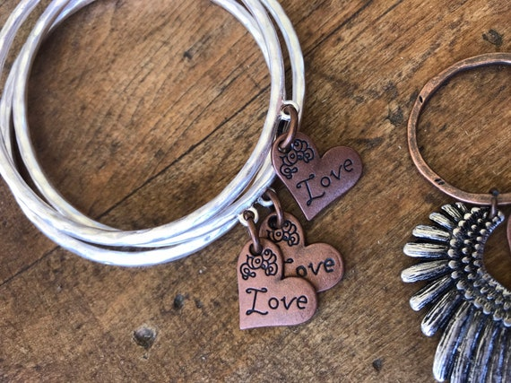 Silver Bangle, Copper Love Heart