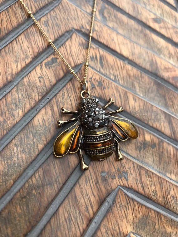 Gold, Glossy Bee Necklace
