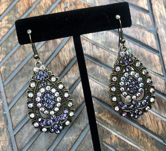 Jeweled and bronze fashion earrings