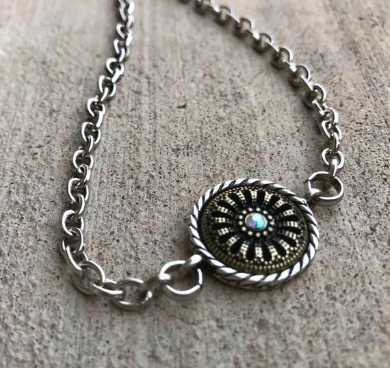 Small Silver & Bronze Charm detail choker