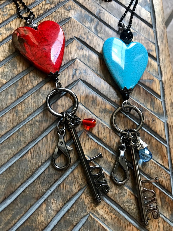 Black Chain, Large Heart, Red Heart, Turquoise Heart, Black Love Key ID/ ID Badge, Badge Holder