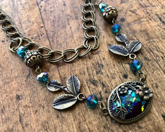 Antique Bronze, Multi Strand, Teal accent necklace