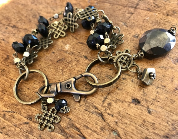Bronze and Black Bead, Industrial Bracelet