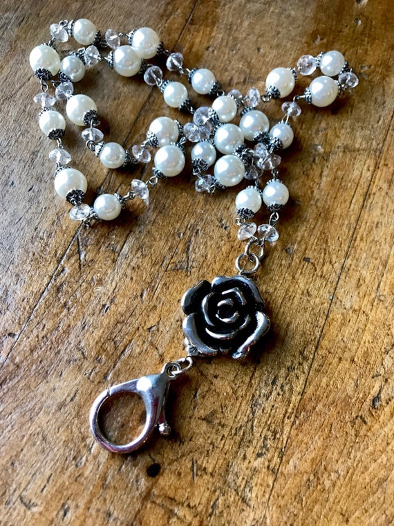 Large Silver Rose Detail, Crystal and Pearl Chained Lanyard