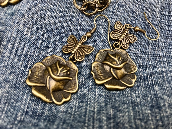 Antique Bronze, Butterfly and Rose Earrings