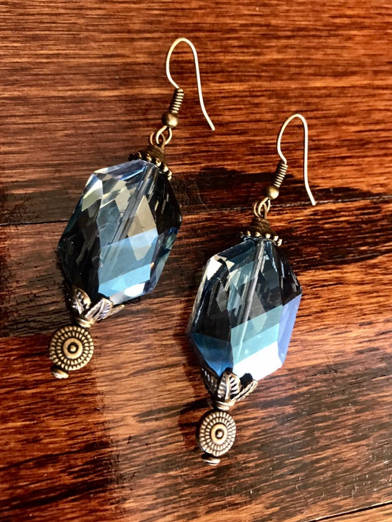 Blue Crystal and Pewter Earrings