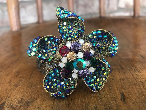 Large Ornate Jeweled Flower Cuff