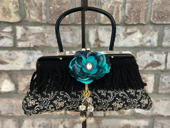 Top Handle, vintage Carpet Bag Clutch