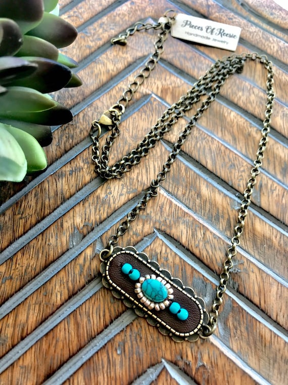 Boho Bronze and Turquoise Choker