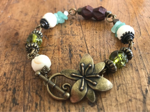 Bronze, Wood, Green Bracelet