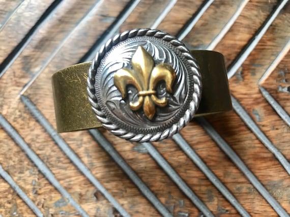 Silver and Bronze, Ornate Western, gold fleur de lis, Cuff