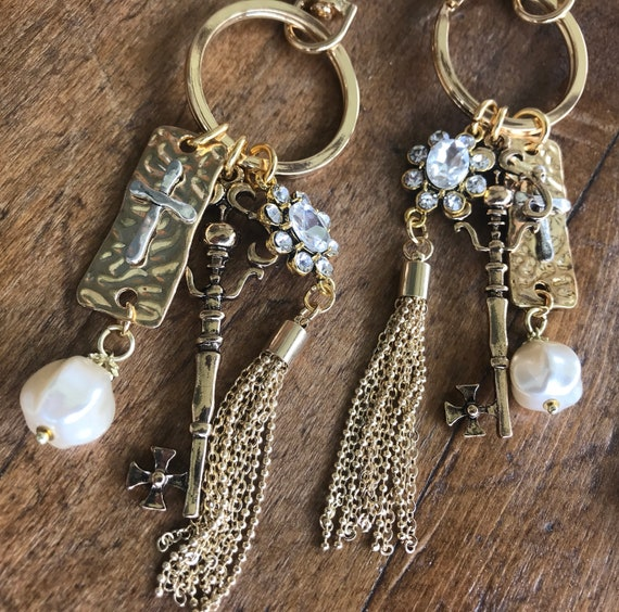 Gold and Crystal Keychain