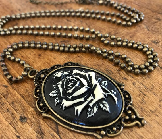 Bronze and Black, Rose Cameo necklace.