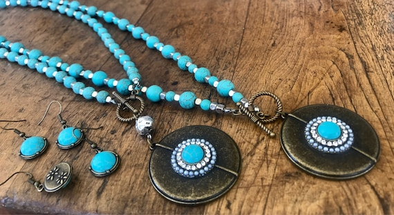 Turquoise, Silver and Bronze Jewery Sets