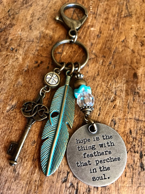 Turquoise and Bronze, Hope , Motivational, Keychain
