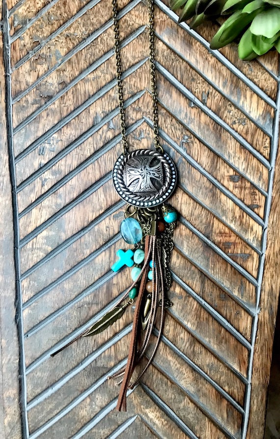 Western Silver Cross, Turquoise Detail, Antique Bronze, Mixed Metals, Boho Necklace