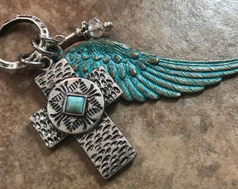 Silver and Turquoise Cross and Wing Necklace