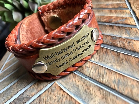 Well Behaved Women Brown Leather Cuff