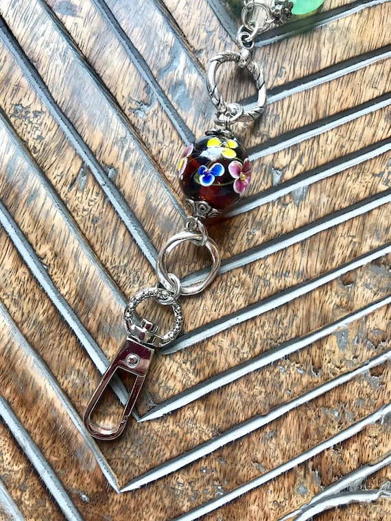 Silver and Multi Colored Glass Bead Lanyard and Badge Holder