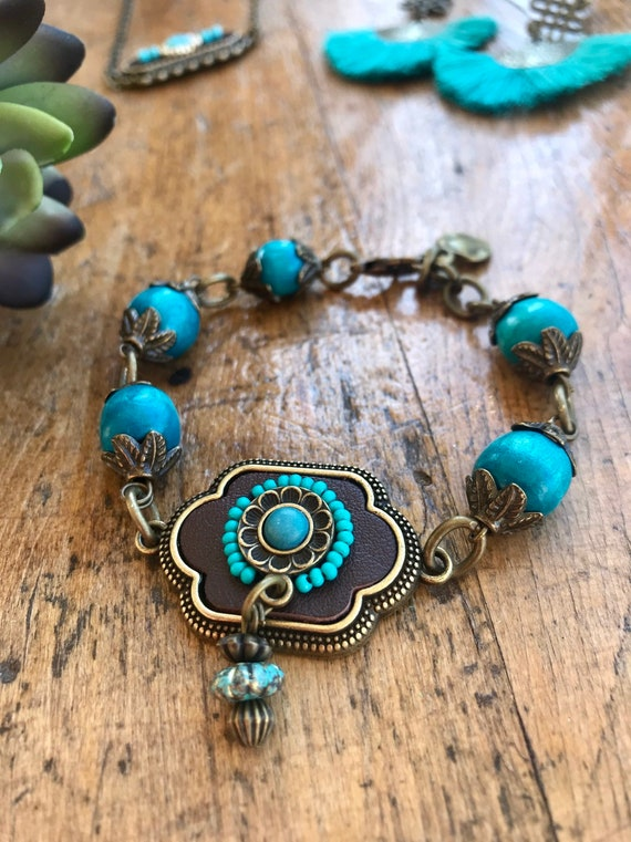 Boho Bronze and Turquoise Bracelet