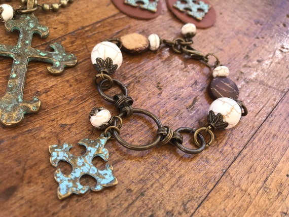 Large Antique Bronze Links, Wooden Beads, Antique Bronze Cross with Turquoise Patina, Bracelet