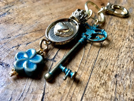 Gold and Turquoise Keychain