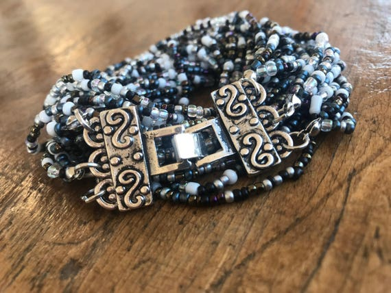 Black and White, Multi color, Beaded Wrap Bracelet with Silver Clasp.  Possible Choker Option.