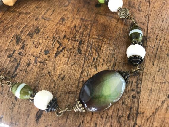 Green, Cream, Bronze Bead Necklace