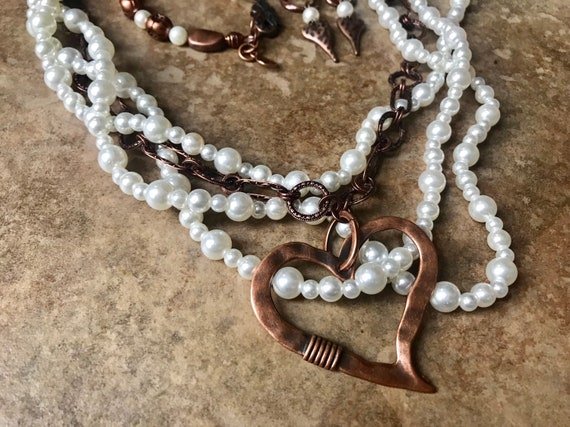 Multiple Pearl Strand, Copper Chain, Large Copper Heart Necklace