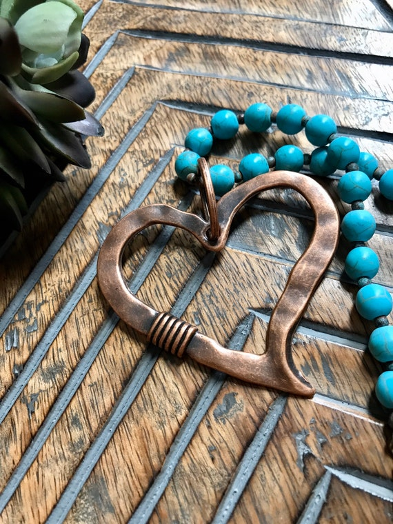 Large Copper Heart, Turquoise Bead Necklace