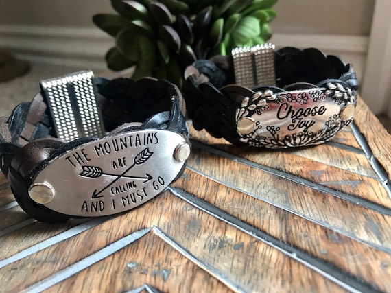 Choose Joy, The Mountains are calling, Inspirational, Motivational Cuff, on Brown and Black Braided Leather