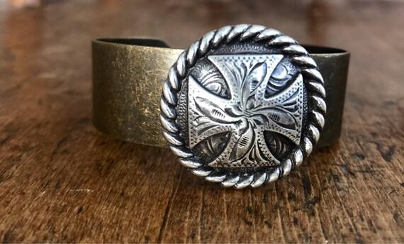 Silver and Bronze, Ornate Western, Silver Cross, Cuff