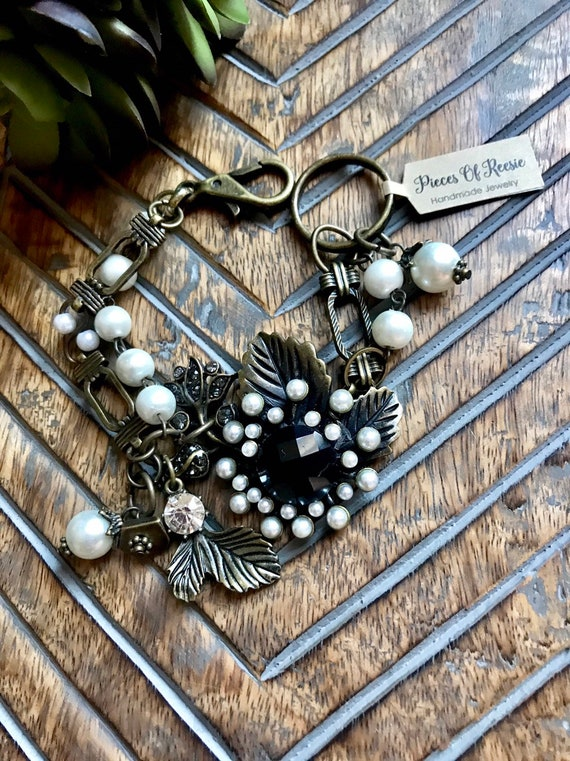 Large Antique Bronze and Black Crystal Flower with Pearl Detail Bracelet
