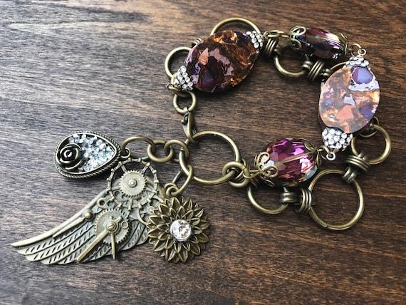 Bronze and Purple Steampunk Bracelet