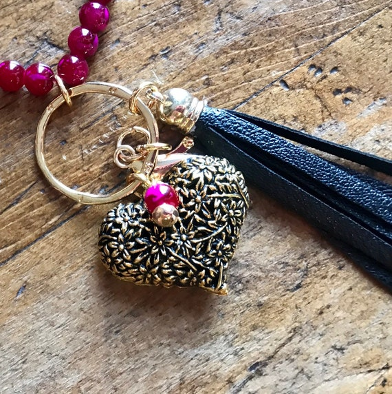 Long Pink and Gold Bead Lanyard and or Badge Holder worh Gold Heart and Black Tassel