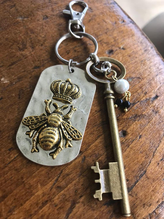 Silver and Gold Queen Bee Keychain