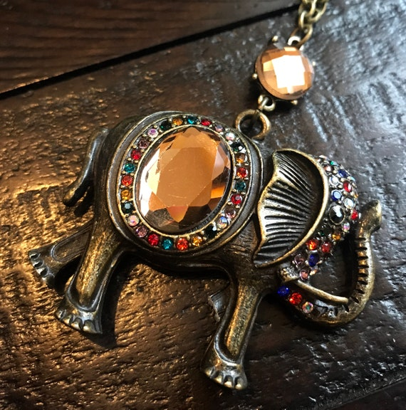 Antique Bronze, Large Elephant, Crystal detail, Long Necklace and Earring Set