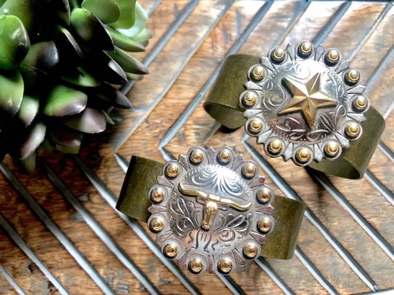 Western, Antique Bronze, Silver, Star and Longhorn Cuff