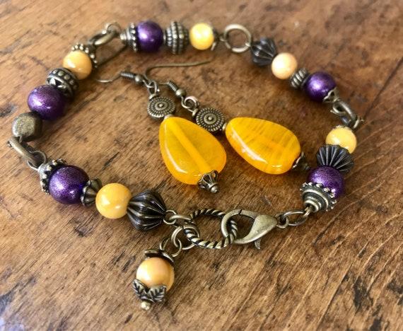 Bronze, Purple Gold, Earring and Bracelet Set